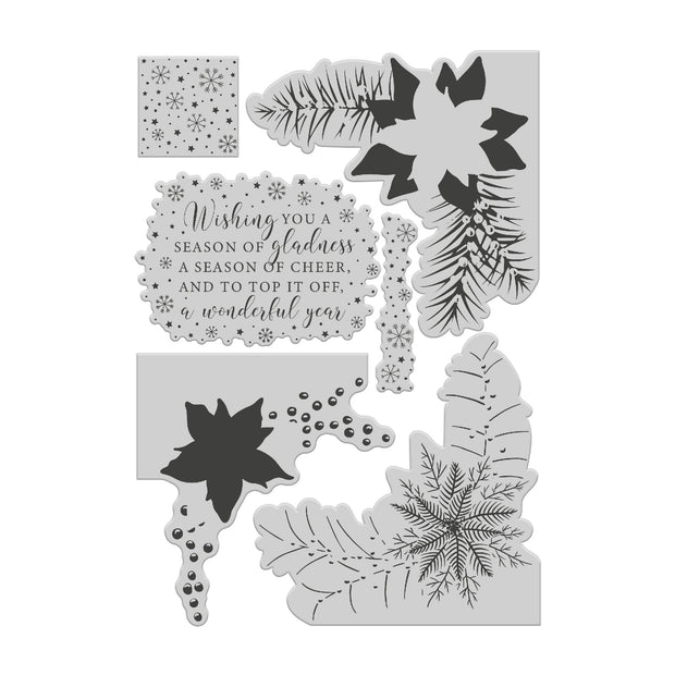 Chloes Creative Cards Layered Poinsettia Corner Clear Stamp Set