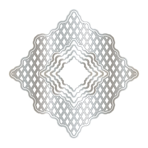 Chloes Creative Cards Metal Die Set - Diamond Trellis Frame