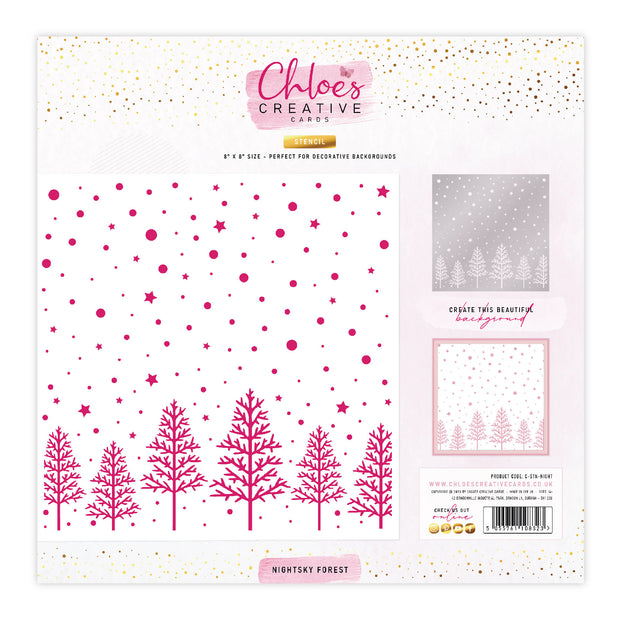 Chloes Creative Cards Stencil (8 x 8) - Nightsky Forest