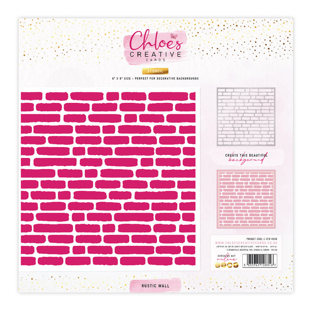 Chloes Creative Cards Stencil (8 x 8) - Rustic Wall