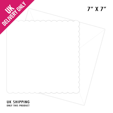 CRAFT UK 7X7 WHITE SCALLOP EDGE CARD BLANKS AND ENVELOPES