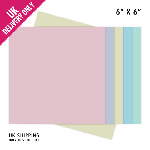 Craft UK 6x6 Pastel Straight Edge Card Blanks and Envelopes