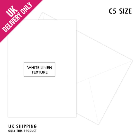 Craft UK C5 White Linen Card Blanks and Envelopes