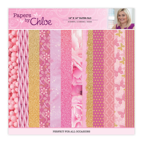 Papers by Chloe 12x12 Raspberry Pink Designer Paper Pad