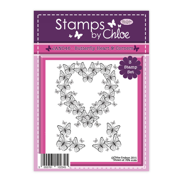 Stamps by Chloe Butterfly Heart and Corners Clear Stamp