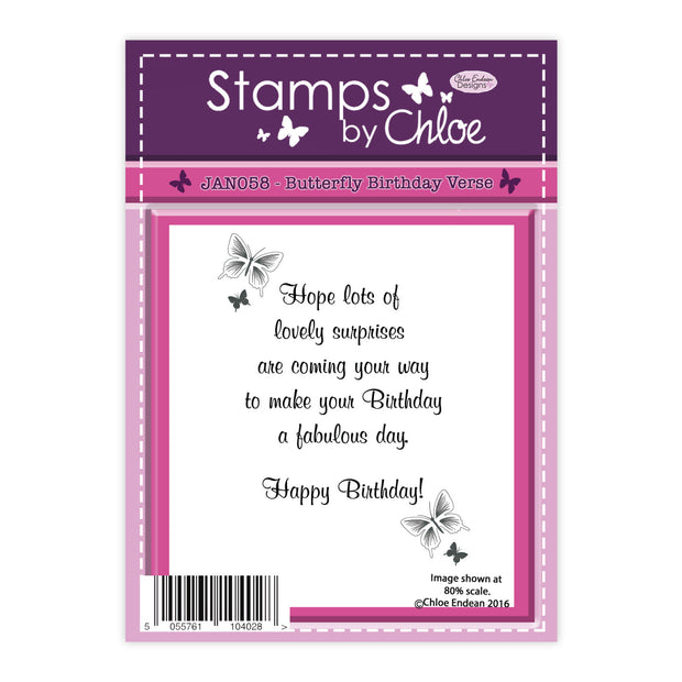 Stamps by Chloe Butterfly Birthday Verse Clear Stamp