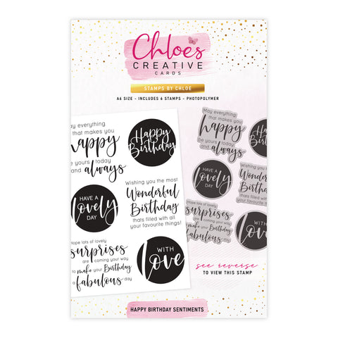 Stamps by Chloe Happy Birthday Sentiments Clear Stamp