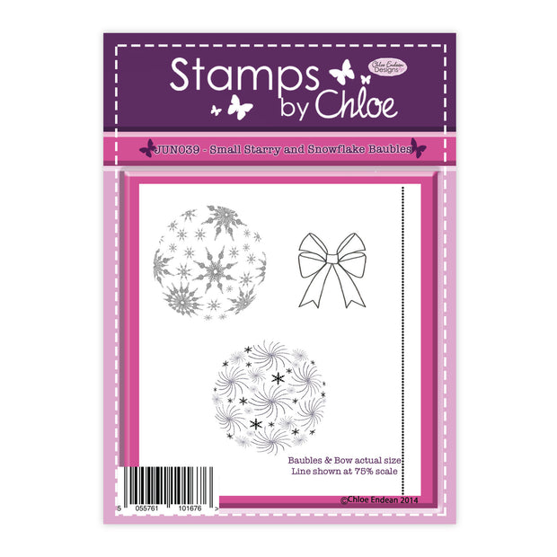 Stamps by Chloe Small Starry & Snowflake Baubles Clear Stamp