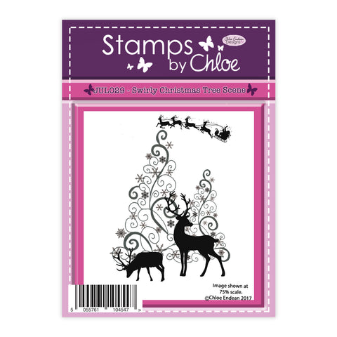Stamps by Chloe Swirly Christmas Tree Scene Clear Stamp
