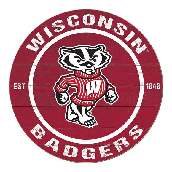 KH Sports Fan - 20x20 Colored Circle Wisconsin Badgers