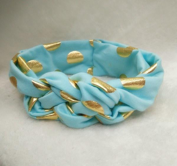 Baby/Toddler Gold Polka Dot Turban Headbands (Set of 2)
