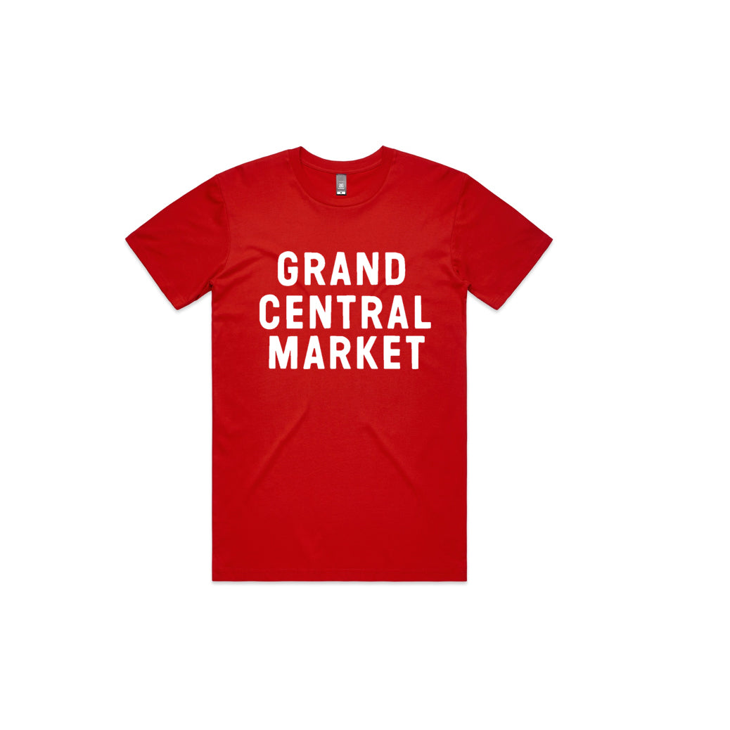 Stacked Market Logo Tee - Red (Adult)