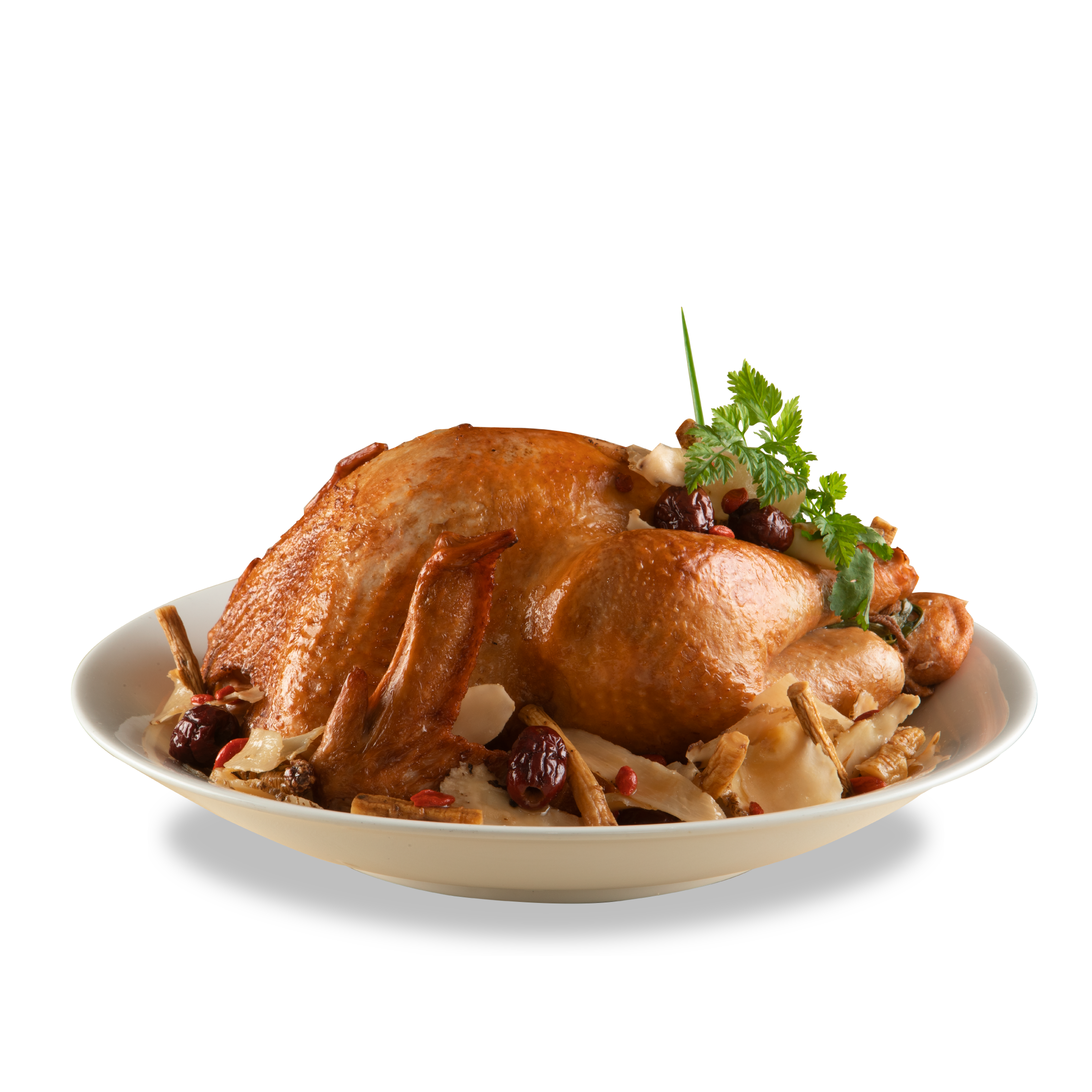 Emperor's Slow Braised Herbal Whole Turkey with Glutinous Rice Stuffing