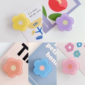 Universal Foldable Flower Phone Holder For iPhone Samsung Huawei Xiaomi OPPO VIVO Cute Flower Print Purple Green Pink Orange Yellow Folding Ring