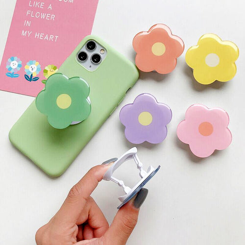Universal Foldable Flower Phone Holder For iPhone Samsung Huawei Xiaomi OPPO VIVO Cute Flower Print Purple Green Pink Orange Yellow Folding Ring Best Cute Flower popsockets