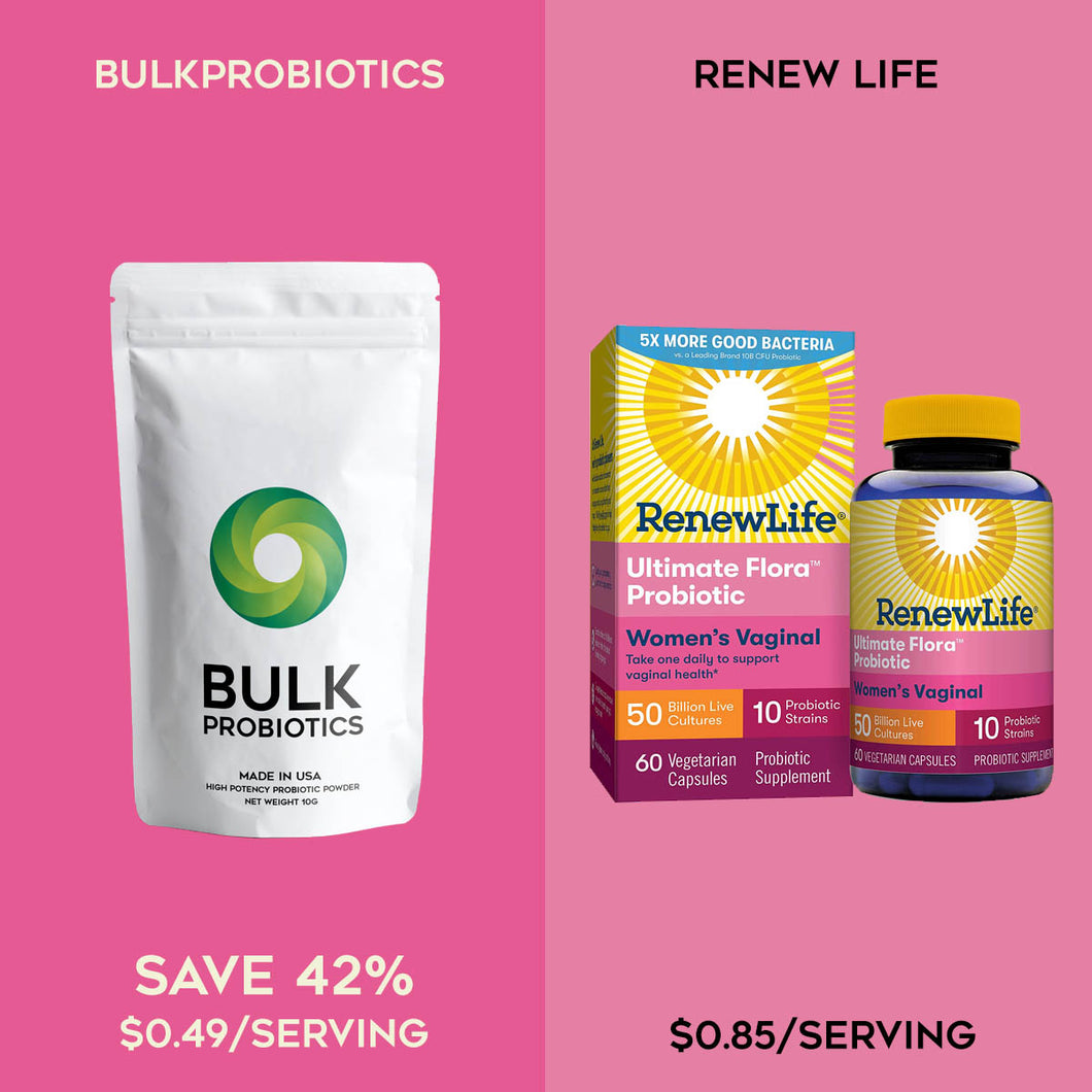Compare to: Renew Life Women's Probiotic 50 Billion CFU Guaranteed, Probiotics for Women, 10 Strains, Shelf Stable, Gluten Dairy & Soy Free, Ultimate Flora Women's Vaginal