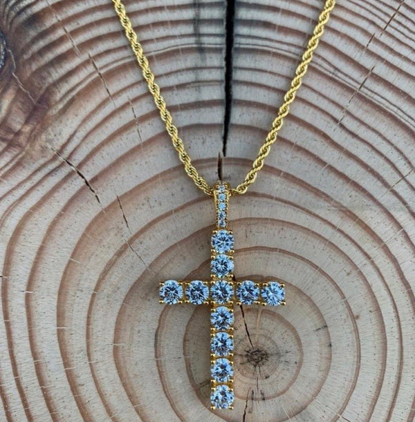 ICED Down Cross Pendant in Gold