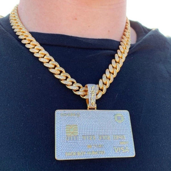 ICED Down Big Bank Card Pendant in Gold