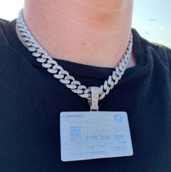 ICED Down Big Bank Card Pendant in White Gold