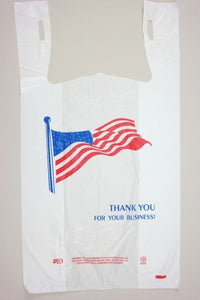 "Economy ""American Flag"" White T-Shirt Bag (1/6 BBL - 11.5"" x 6"" x 21"")"