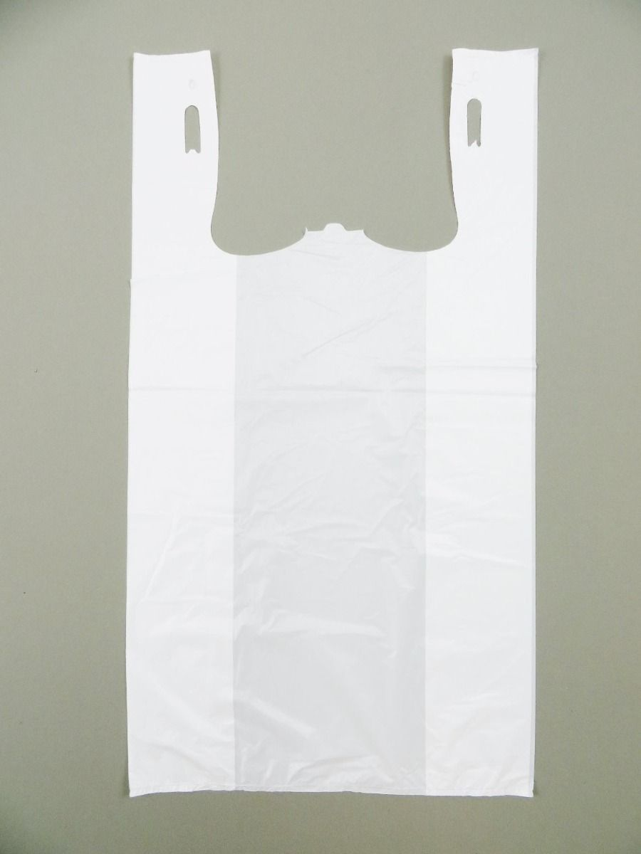 Unprinted White T-Shirt Bag (1/6 BBL - 11.5
