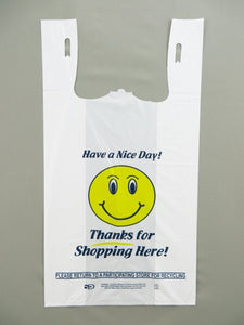 "Heavy Duty ""Happy Face"" White T-Shirt Bag (1/6 BBL - 11.5"" x 6"" x 21"")"
