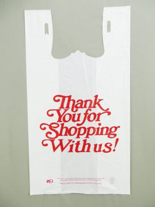 "Strong Italic ""Thank You"" White T-Shirt Bag (13"" x 8"" x 23"")"