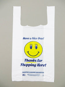 "Standard ""Happy Face"" Print White Embossed T-Shirt Bag (1/8 BBL - 10"" x 5"" x 18"")"