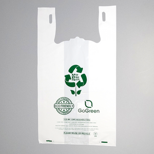 "Eco Friendly Thick Reusable White T-Shirt Bag 1/5 BBL (13""X9""X23"")"