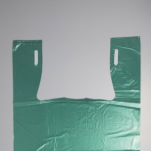 "Unprinted Green T-Shirt Bags (1/6 BBL - 11.5"" x 6.5"" x 21"")"