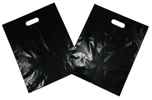 "Black Plain LDPE Die Cut Handle Bag (12"" x 15"")"