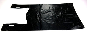 "Black Plain Embossed T-Shirt Bag (1/6 BBL - 11.5"" x 6.5"" x 21"")"