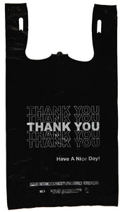 "Economy ""Thank You"" Silver Print Black T-Shirt Bag (1/6 BBL - 11.5"" x 6.5"" x 21.5"")"