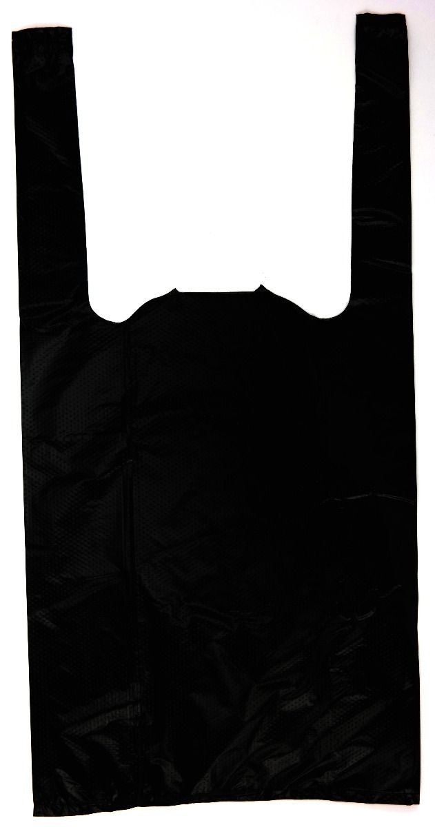 Black Plain Embossed T-Shirt Bag (1/10 BBL - 8