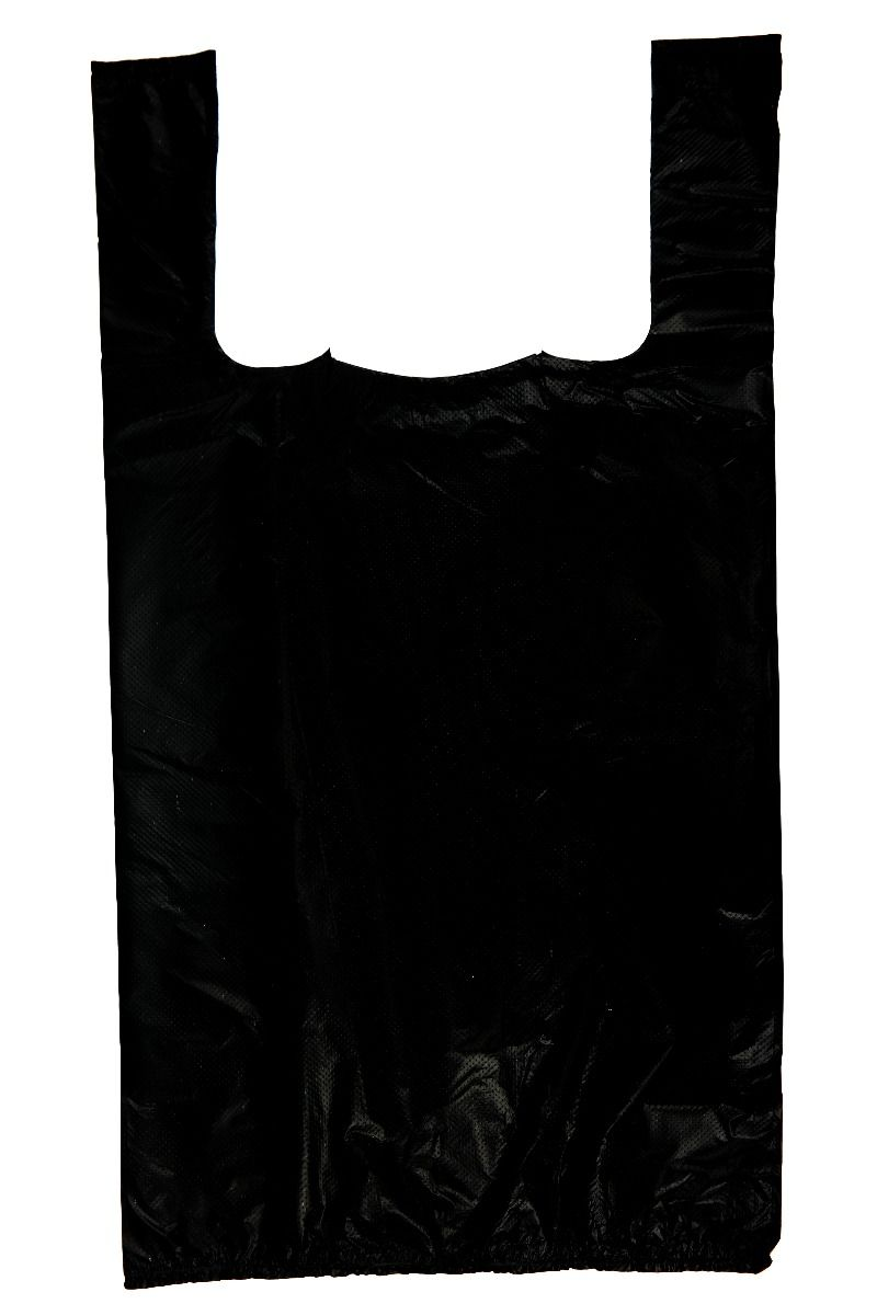 Black Plain Embossed T-Shirt Bag (1/8 BBL - 10