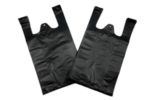 "Extra Heavy Duty Plain Black T-Shirt Bags Embossed (1/8 BBL - 10"" x 5"" x 18"")"