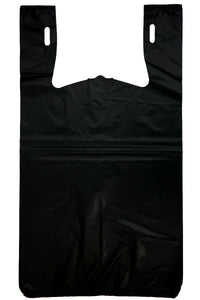 "Strong Plain Black T-Shirt Bag Embossed (1/6 BBL - 11.5"" x 6.5"" x 21"")"