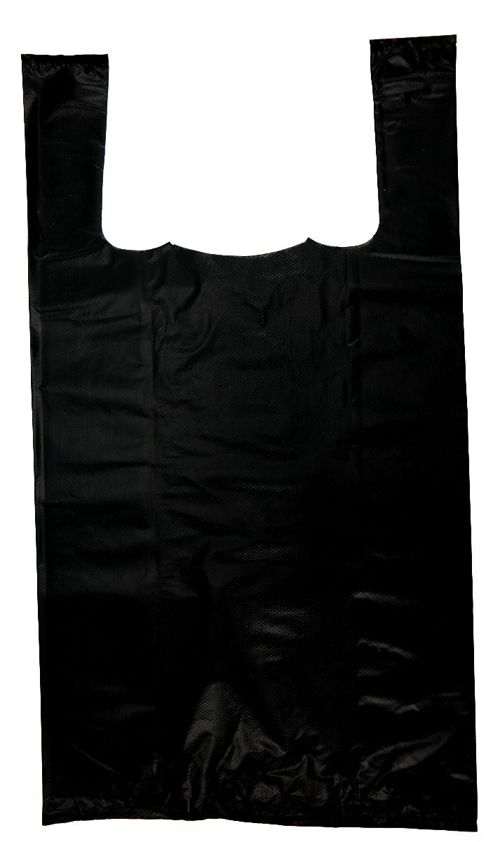 Extra Heavy Duty Plain Black T-Shirt Bags Embossed (1/8 BBL - 10