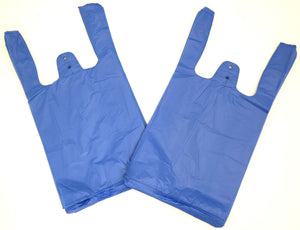 "Blue Plain Embossed T-Shirt Bag (1/10 BBL - 8"" x 4"" x 15"")"