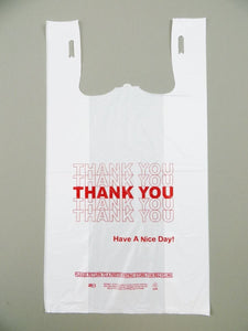 "Economy ""Thank You"" White T-Shirt Bag (1/6 BBL - 11.5"" x 6.5"" x 21"")"