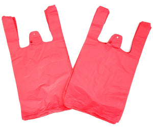 "Unprinted Pink T-Shirt Bag (1/10 BBL - 8"" x 4"" x 15"")"