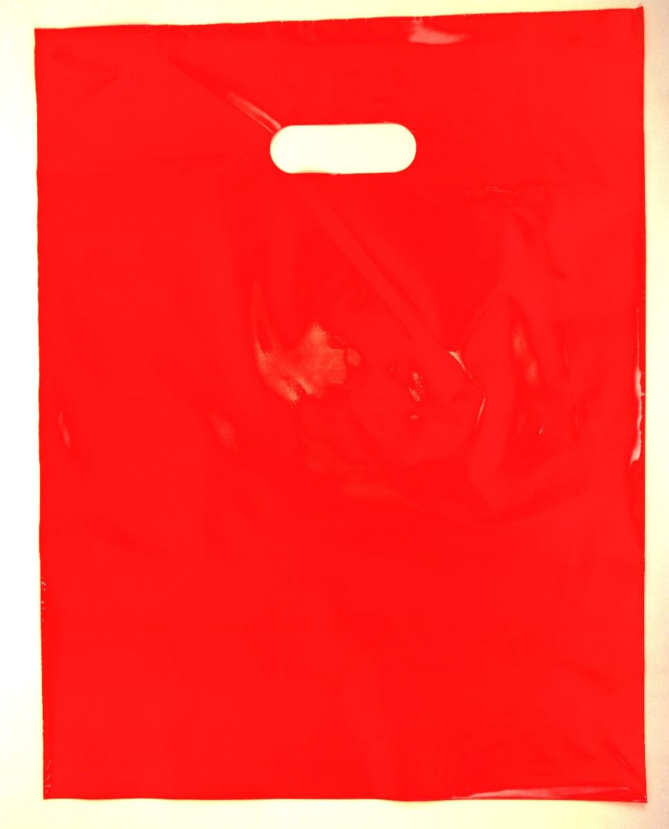Red Plain LDPE Die Cut Handle Bag (12