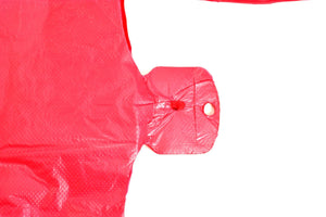 "Red Plain Embossed T-Shirt Bag (1/6 BBL - 11.5"" x 6.5"" x 21"")"