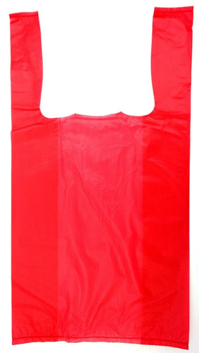 Red Plain Embossed T-Shirt Bag (1/10 BBL - 8