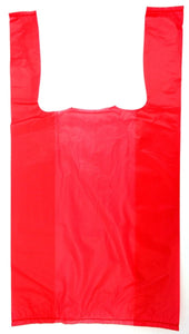 "Red Plain Embossed T-Shirt Bag (1/10 BBL - 8"" x 4"" x 15"")"