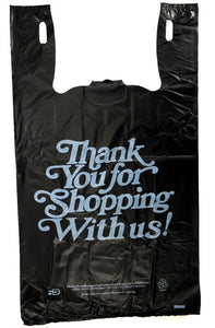 "Heavy Duty ""Thank You"" Print Black T-Shirt Bag (13"" x 10"" x 23"")"