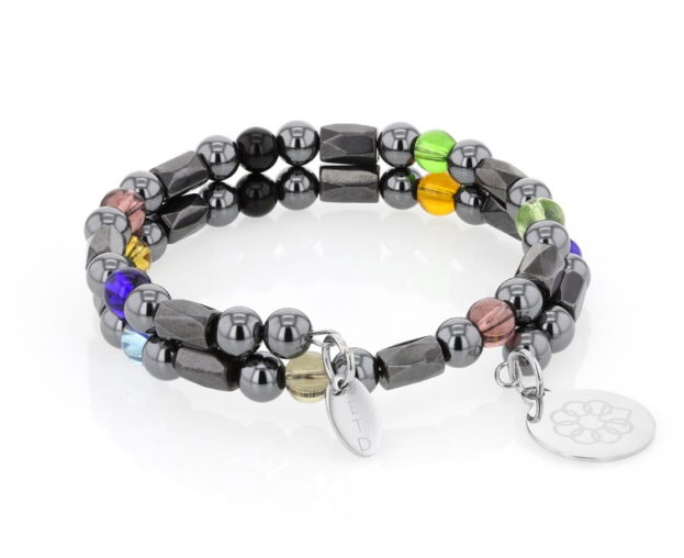 EMBRACE THE DIFFERENCE® BEAD WRAP BRACELET - HEMATITE & GLASS BEADS