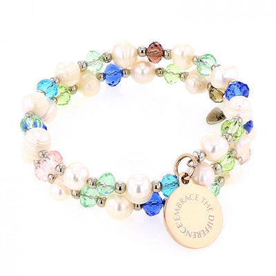 EMBRACE THE DIFFERENCE® WRAP BRACELET - PEARL & GLASS BEADS