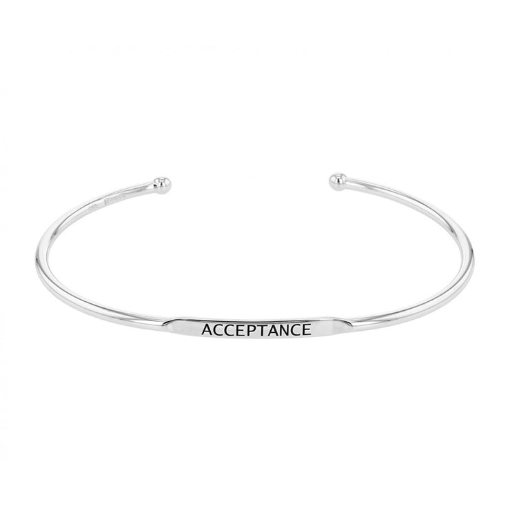 EMBRACE THE DIFFERENCE® MOTIVATIONAL STERLING SILVER CUFF BRACELET, ACCEPTANCE