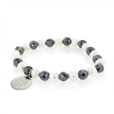 EMBRACE THE DIFFERENCE® STRETCH BRACELET - FRESH WATER PEARL AND FACETED HEMATITE BEADs